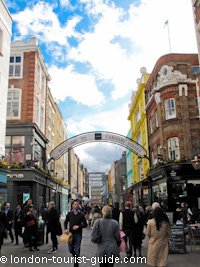Carnaby Street in Soho - which offers a wide variety of shops.