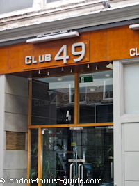 The entrance to Club 49 nightclub in Soho