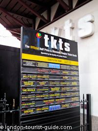 Tkts information board in Leicester Square